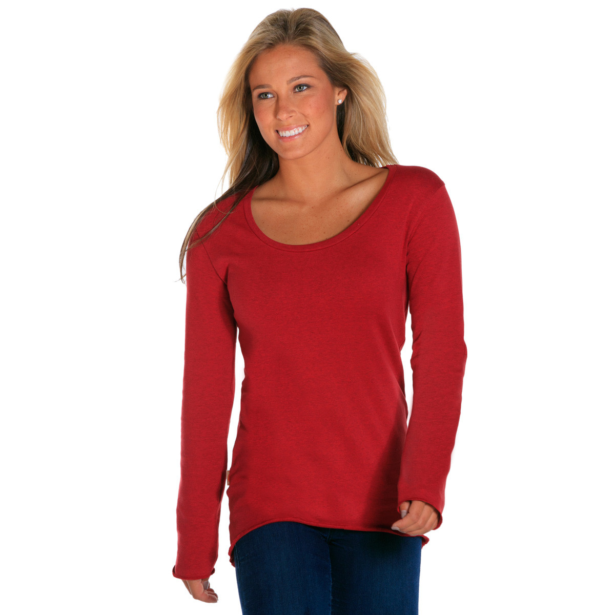 TNB-Womens-Heather-Red-Scoop-front