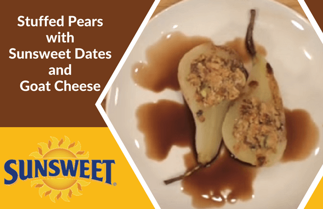 Stuffed Pears with Sunsweet Dates and Goat Cheese