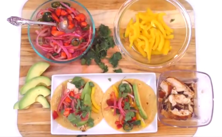Chicken Fajitas with Well-Pict Strawberries & Jalapeno Salsa