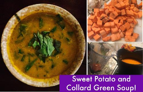 Sweet Potato Soup with Collards