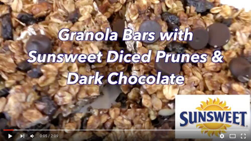 Granola Bars with Sunsweet Diced Prunes and Dark Chocolate