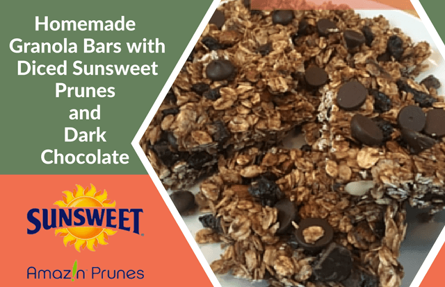 Homemade Granola Bars with Diced Sunsweet Prunes and Dark Chocolate