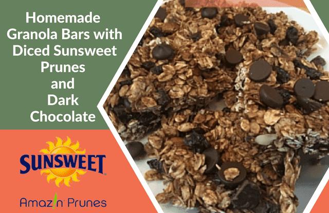 Homemade Granola Bars with Diced Sunsweet Prunes and Dark Chocolate