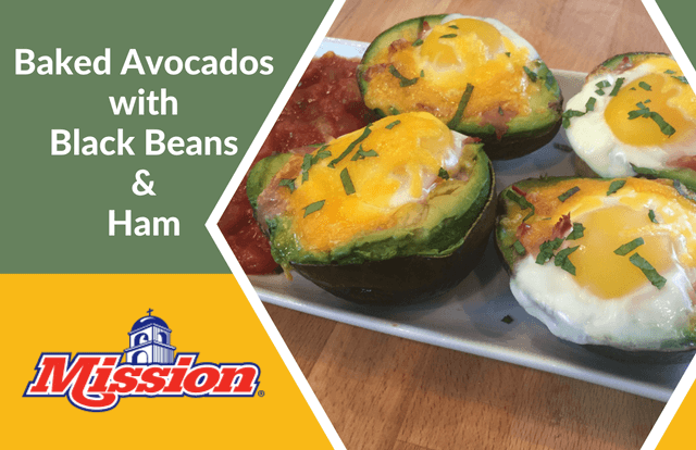 Baked Avocados with Black Beans and Ham