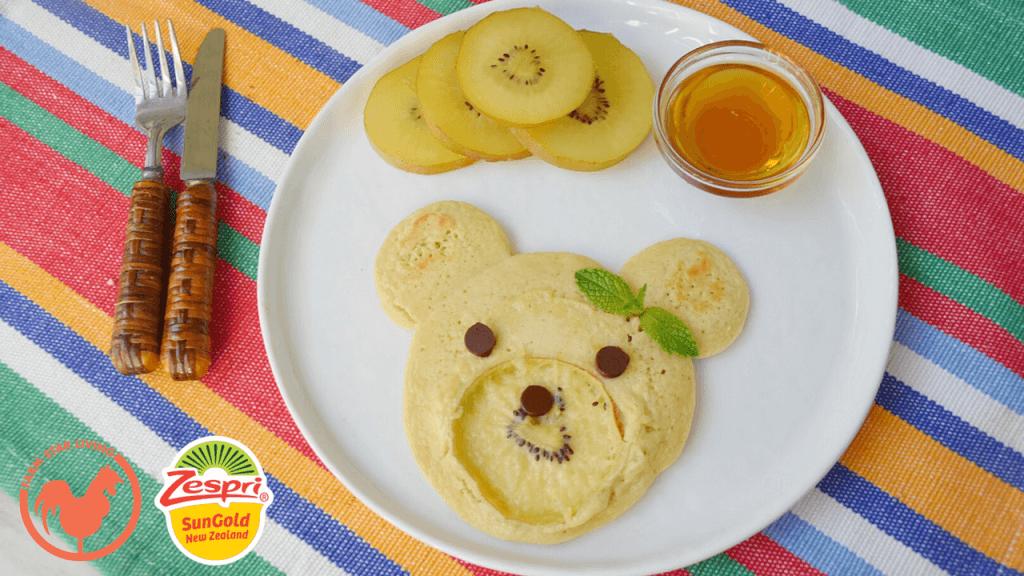 Zespri SunGold Kiwi Bear Face Pancakes