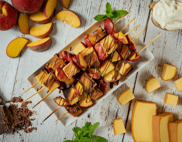 Grilled Peach Pound Cake Kabobs
