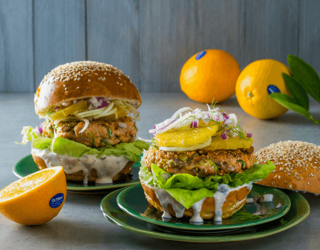 Salmon Burgers with Navel Orange and Fennel Salsa