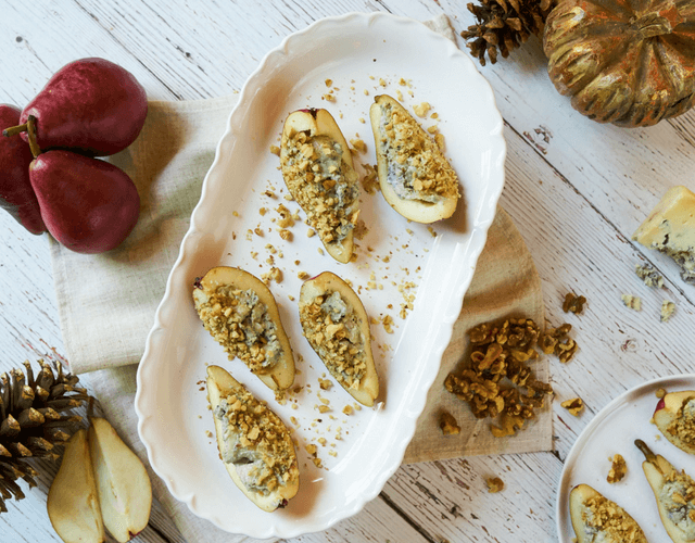 Blue Cheese Stuffed Starkrimson Pears