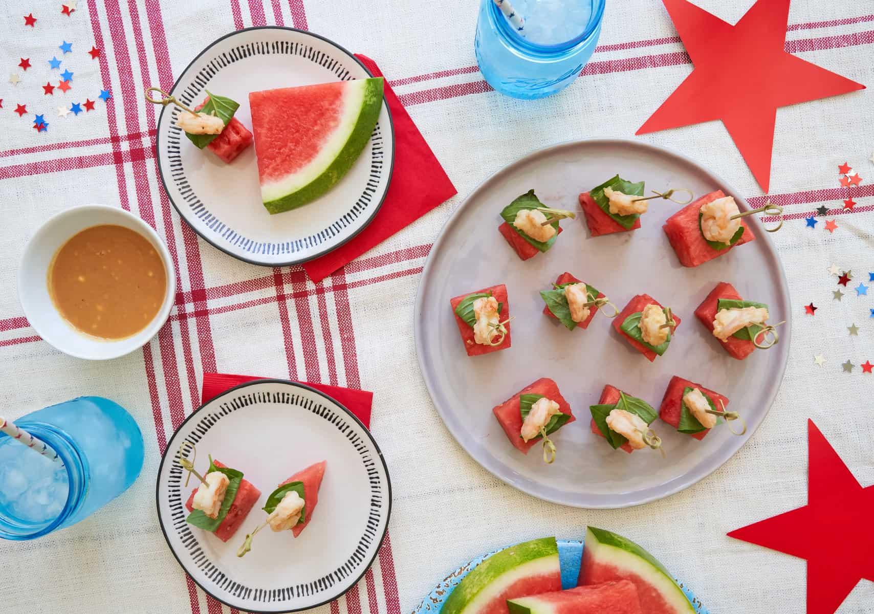 Watermelon & Shrimp Cocktail Skewers