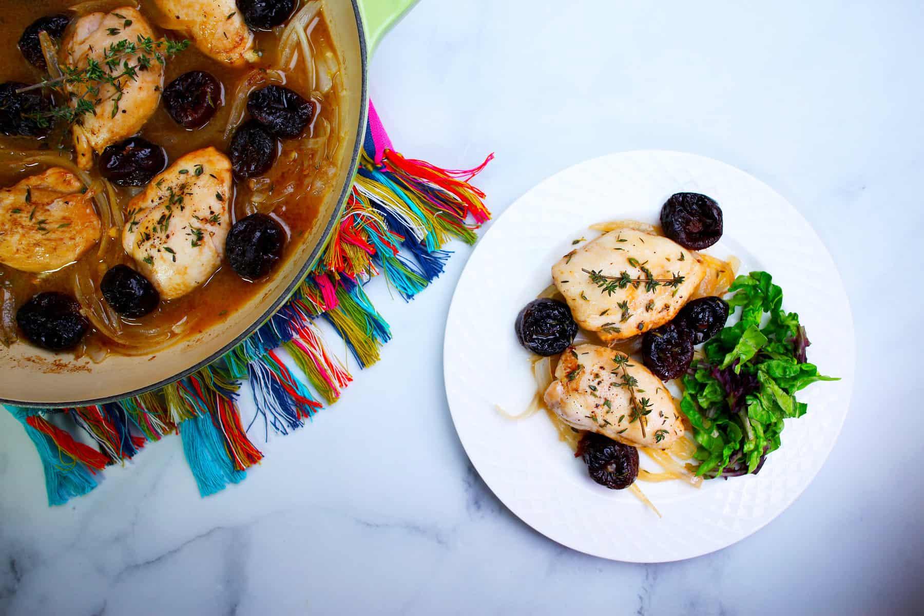 Braised Chicken with Onions & D'Noir Prunes