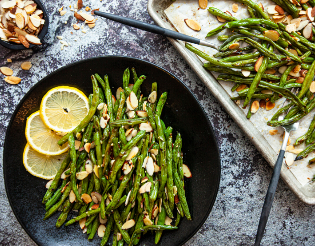 Garlic Roasted Spicy Green Beans with Almonds