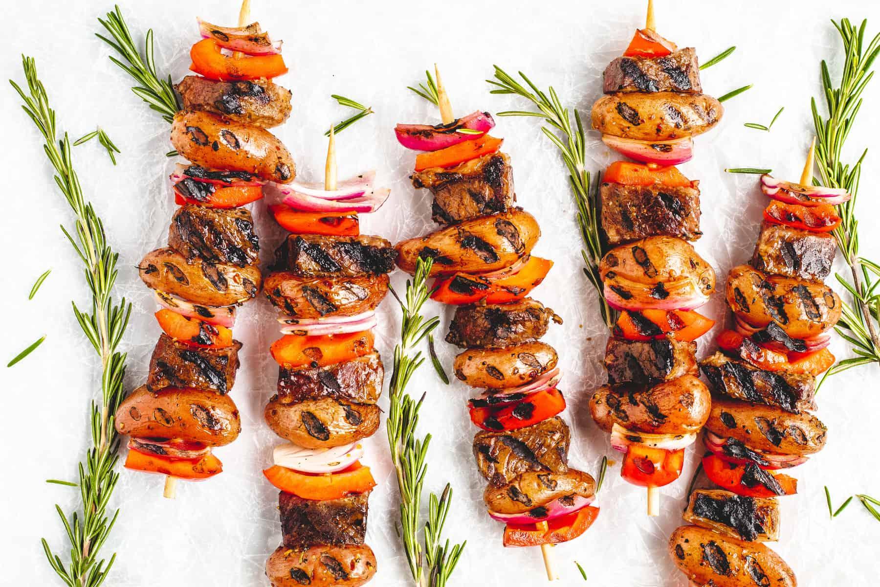 Garlic Rosemary Potato & Steak Skewers