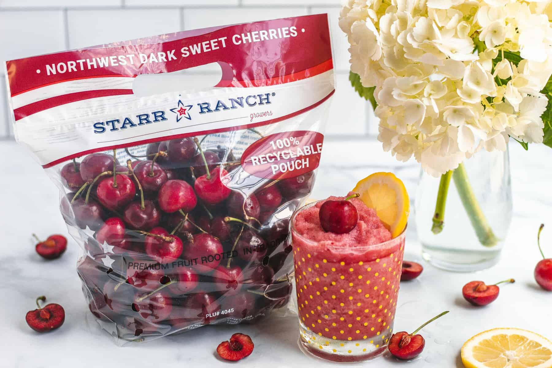 Glass of Fresh Dark Sweet Cherry Frozen Lemonade
