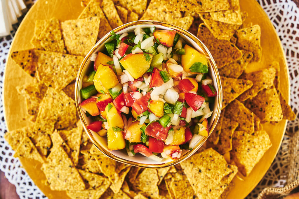 Sweetie Sweet Onion & Peach Salsa from Farm Star Living served with tortilla chips